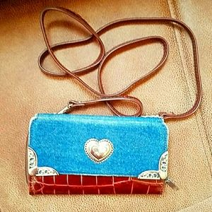 Brown vinyl and blue denim wallet with hearts